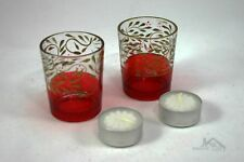 Pair of Ruby Flash Glass Tealite Candle Holders with Candles Included