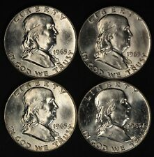 Lot of (4) 1963-D Franklin Silver Half Dollars - Free Shipping USA