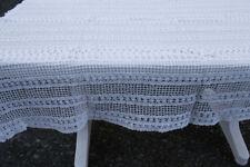 Nappe ancienne au crochet blanc en coton 140 x 160 cm Dessus de lit