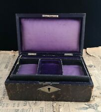 Antique Edwardian leather covered jewellery box, Art Nouveau