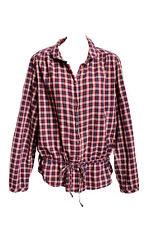 H&M WOMEN COTTON  PLAID TIE WAIST TUNIC BUTTON FRONT COLLAR SHIRT BLOUSE TOP 14