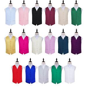 DQT Mens Waistcoat Satin Plain Solid Formal Wedding Vest FREE Random Hanky