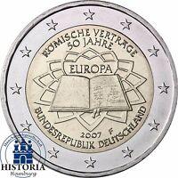 Deutschland 2 Euro Römische Verträge 2007 bankfrisch Gedenkmünze Münzzeichen F