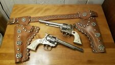 VTG 1950'S Hubley Double COWBOY TOY CAP GUN & HOLSTER set w/BELT
