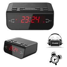 LED Digital FM Alarm Clock Radio Dual Alarm Snooze Sleep Time Battery Function