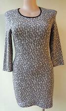 TOPSHOP UK size 16 grey white dress stretch print 3/4 sleeve
