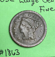 1852 1c Braided Hair Large Cent  Fine