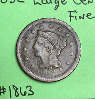 1852 1c Braided Hair Large Cent  Fine
