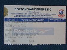 Bolton Wanderers v Aston Villa - 10/2/96 - Ticket