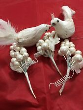 5 Vintage White Christmas Pick Tree Decoration Dove Bead Craft Lot