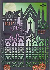Papyrus Halloween Card Nip Msrp $7.95 Die-Cut Cemetary Card (C4)