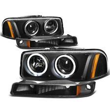Headlight+Bumper Light For 99-06 Sierra/Yukon Black Dual Halo Projector Diamond