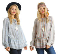 UMGEE Womens Bohemian Embroidery Tassel Boho Long Bishop Sleeve Top Blouse S M L