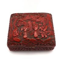 Antique Chinese Asian Cinnabar Carved Lacquer Trinket Jewelry Box with Elders