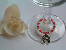 A FABULOUS WINE GLASS GOOD LUCK BEADED CHARM RED AND CLEAR BEADS (NEW)