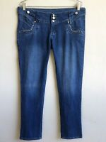 """FOREVER 21 Blue Jeans Size 15/16 Studded Pockets Boot Cut Mid Rise Inseam 34"""""""