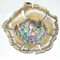 Vintage signed Coro pastel multi color rhinestone light gold tone flower brooch