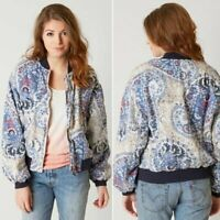 Free People Printed Bomber Paisley Blue Cream Red Varsity Ribbed Cuff Small