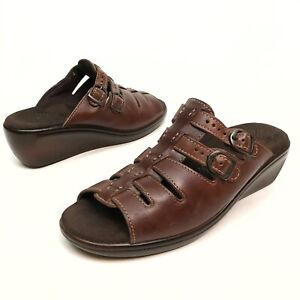✅💟✅@ SAS Tango Women's Brown Leather Slip On Sandals Shoes Buckle 9.5 S Wedge