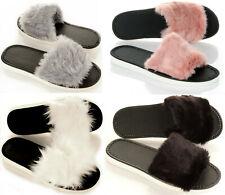 Damen moderne kuschelige Hausschuhe mit Fell Pantoletten Pantoffeln 36-41 NEU