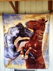HORSE HORSES YOUNG STUDS QUEEN SIZE BLANKET