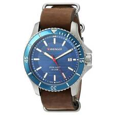 Wenger 01.0641.121 Men's Blue Dial Brown Leather Band Watch