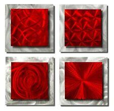 Red + Silver Modern Metal Wall Art Set of 4 Squares Modern Wall Sculpture