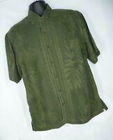Tommy Bahama Size L Large Mens Short Sleeve Silk Embossed Palm Camp Aloha Shirt