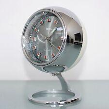 CLOCK Mantel Alarm CORAL RHYTHM TOP!! Space Age SPECIAL PEDESTAL! Chrome Vintage