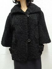 MINT BLACK PERSIAN LAMB FUR BOLERO JACKET COAT WOMEN WOMAN SIZE 8-10 MEDIUM