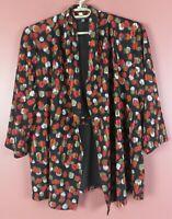 STK3738- KASPER Women's Textured Polyester Travel Knit Open Front Jacket Geo 1X