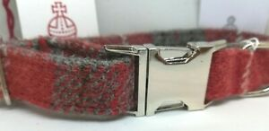 Red & Grey check Harris Tweed dog CLIP collar & lead set or sold separately
