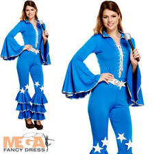 Disco Girl Ladies Fancy Dress Groovy 70s 1970s Womens Abba Adults Costume Outfit