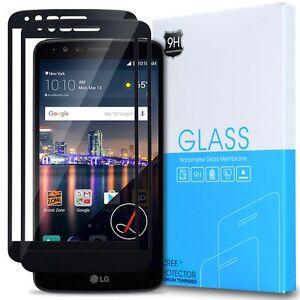 [2-Pack] Anti-Fingerprint Tempered Glass Screen Protector For LG Stylo 3 (Black)