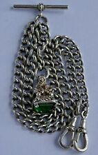 Antique solid silver double pocket watch albert chain & fob set with green stone