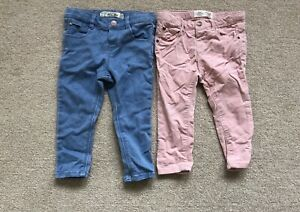 2 x Zara baby girl jeans for 12-18 months 1-1.5 Years Toddler Pink & Blue RRP£30