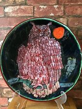 "Poole Pottery 16"" Charger Owl Under Moonlight by Iconic Artist Tony Morris"