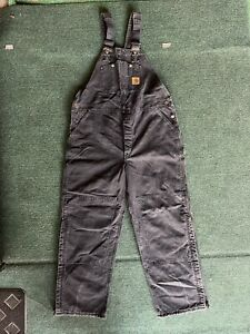 Carhartt Overalls Faded Black Work Cotton RN#14806 Men's 42x32 Made In USA