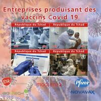 Chad Medical Stamps 2020 MNH Corona Companies Producing Vaccines 4v M/S