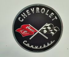 Corvette Emblem Crossed Flags Metal Sign Garage Mancave Wall Art Stingray 396