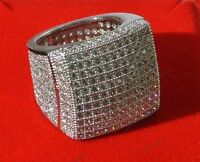 MENS 14K WHITE GOLD CLEAR DIAMOND PINKY ENGAGEMENT WEDDING BAND RING 3.50 CARAT
