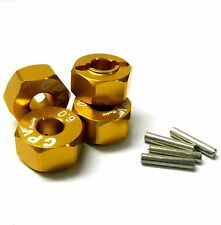 57816A 1/10 Scale RC M12 12mm Alloy Wheel Adaptors With Pins Nut Yellow 6mm Wide