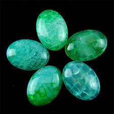 5pcs 25x18mm Charming Green Dragon Veins Agate Oval Cab Cabochon M-XL161