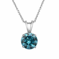 1.50 Ct Round Blue Diamond Pendants 14k White Gold Free Certificate