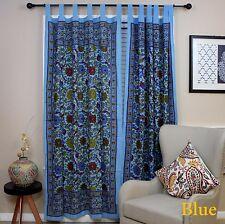 Handmade 100% Cotton Sunflower Floral Tab Top Curtain Drape Door Panel Sky Blue