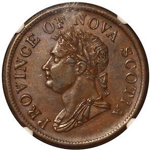 1832 Canada Nova Scotia One Penny Token NS-2B1 - NGC AU 55 BN - TOP POP-1