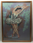 """LARGE Antique Tapestry Needle Point~Ballerina~Girl~Woman~Framed~21"""" x 29""""~Beige"""