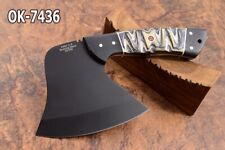 "7.4""KMA CUTLERY 52100  STEEL BLACK COATED FULL TANG HATCHET AXE KNIFE 7436"