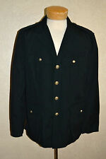 $425 POLO Ralph Lauren L Black Cotton Naval Captains Safari Jacket Anchor Button