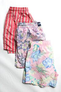 Vilebrequin Santa Barbara Solid & Stripe Mens Swim Trunks Pink Size L M XL Lot 3